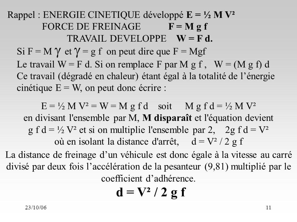 23/10/0611 E = ½ M V² = W = M g f d soit M g f d = ½ M V² en divisant l ensemble par M, M disparaît et l équation devient g f d = ½ V² et si on multiplie l ensemble par 2, 2g f d = V² où en isolant la distance d arrêt, d = V² / 2 g f La distance de freinage dun véhicule est donc égale à la vitesse au carré divisé par deux fois laccélération de la pesanteur (9,81) multiplié par le coefficient dadhérence.
