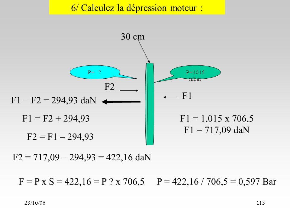 23/10/06113 cm P=1015 mbar 6/ Calculez la dépression moteur : F1 – F2 = 294,93 daN F1 P= .