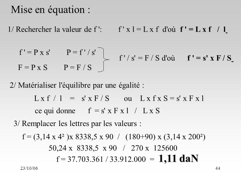 23/10/0644 1/ Rechercher la valeur de f : f x l = L x f d où f = L x f / l f = P x s P = f / s F = P x S P = F / S f / s = F / S d où f = s x F / S 2/ Matérialiser l équilibre par une égalité : f = (3,14 x 4² )x 8338,5 x 90 / (180+90) x (3,14 x 200²) 1,11 daN f = 37.703.361 / 33.912.000 = 1,11 daN 50,24 x 8338,5 x 90 / 270 x 125600 Mise en équation : L x f / l =s x F / Sou L x f x S = s x F x l ce qui donne f = s x F x l / L x S 3/ Remplacer les lettres par les valeurs :