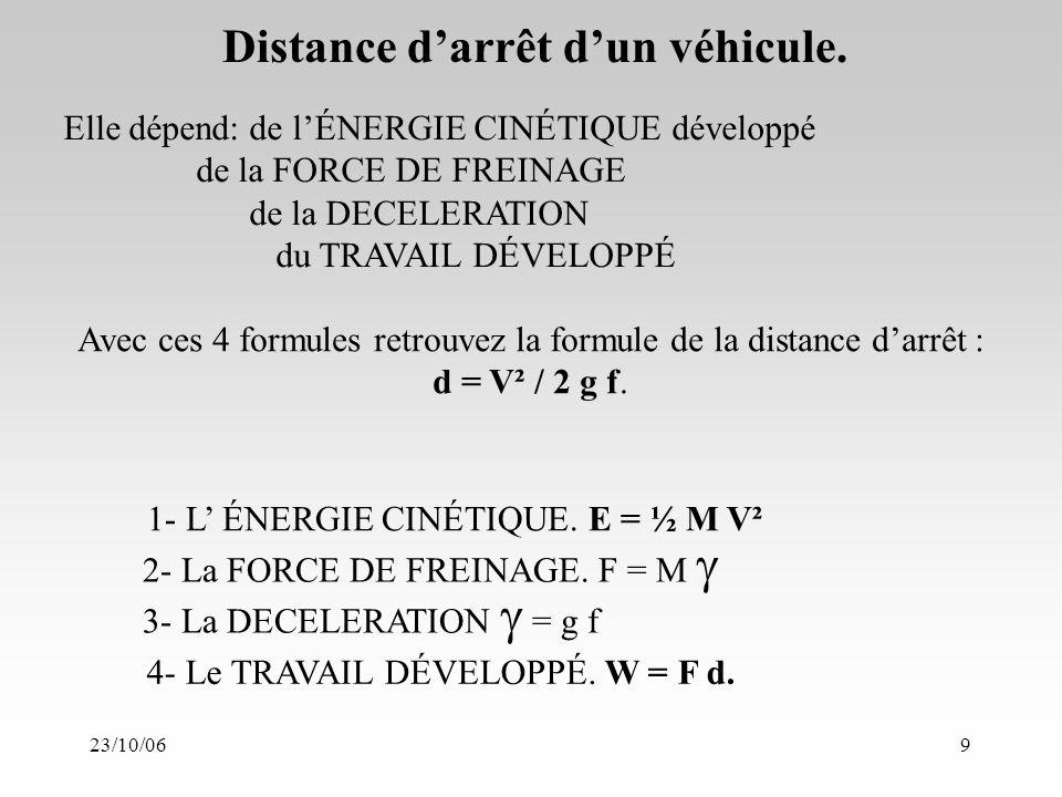 23/10/069 Distance darrêt dun véhicule. 1- L ÉNERGIE CINÉTIQUE.