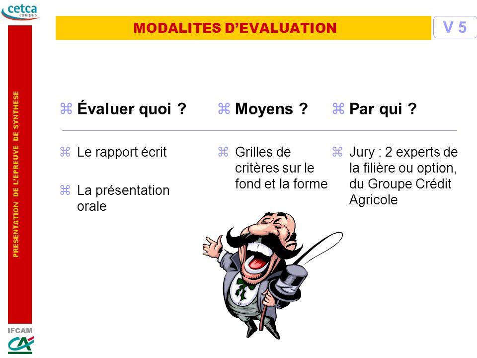 PRESENTATION DE LEPREUVE DE SYNTHESE MODALITES DEVALUATION zÉvaluer quoi ? zLe rapport écrit zLa présentation orale zMoyens ? zGrilles de critères sur