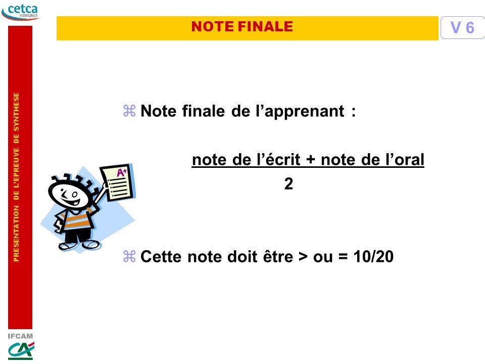 PRESENTATION DE LEPREUVE DE SYNTHESE zNote finale de lapprenant : note de lécrit + note de loral 2 zCette note doit être > ou = 10/20 V 6 NOTE FINALE