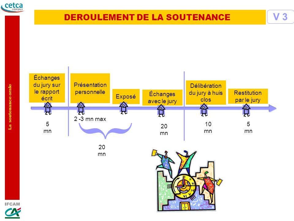 La soutenance orale DEROULEMENT DE LA SOUTENANCE V 3 5 mn 10 mn 20 mn 5 mn Échanges du jury sur le rapport écrit Exposé Échanges avec le jury Délibéra