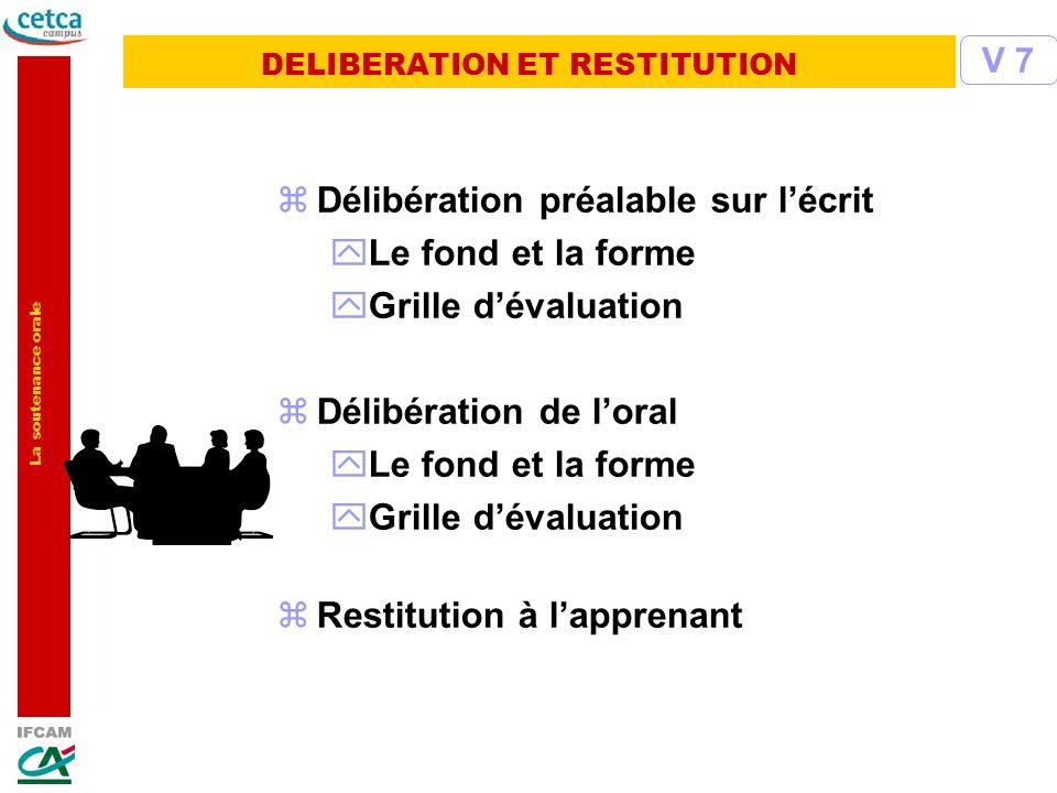 La soutenance orale zDélibération préalable sur lécrit yLe fond et la forme yGrille dévaluation zDélibération de loral yLe fond et la forme yGrille dé