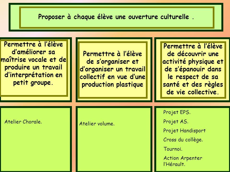 Proposer à chaque élève une ouverture culturelle. Permettre à lélève daméliorer sa maîtrise vocale et de produire un travail dinterprétation en petit