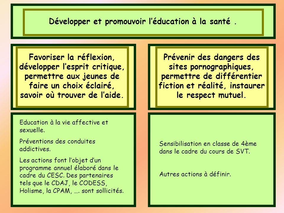 Développer et promouvoir léducation à la santé. Favoriser la réflexion, développer lesprit critique, permettre aux jeunes de faire un choix éclairé, s