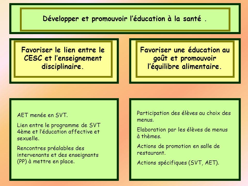 Développer et promouvoir léducation à la santé. Favoriser le lien entre le CESC et lenseignement disciplinaire. AET menée en SVT. Lien entre le progra