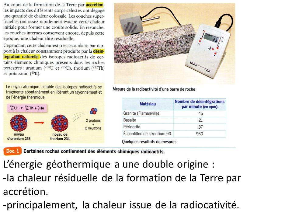 Lénergie géothermique a une double origine : -la chaleur résiduelle de la formation de la Terre par accrétion. -principalement, la chaleur issue de la