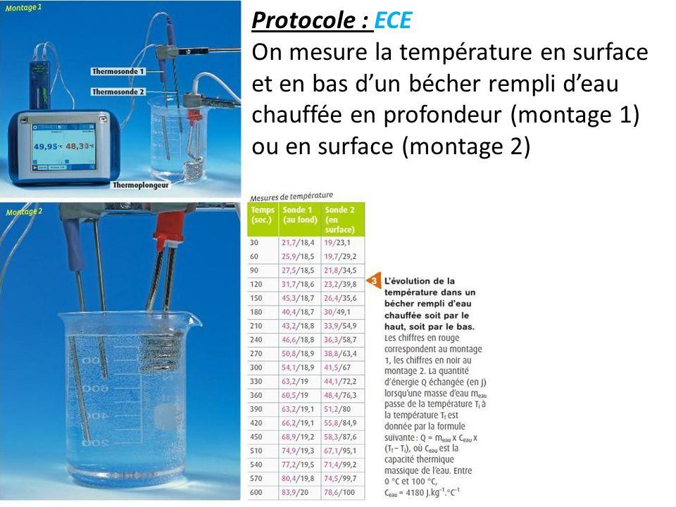 Protocole : ECE On mesure la température en surface et en bas dun bécher rempli deau chauffée en profondeur (montage 1) ou en surface (montage 2)