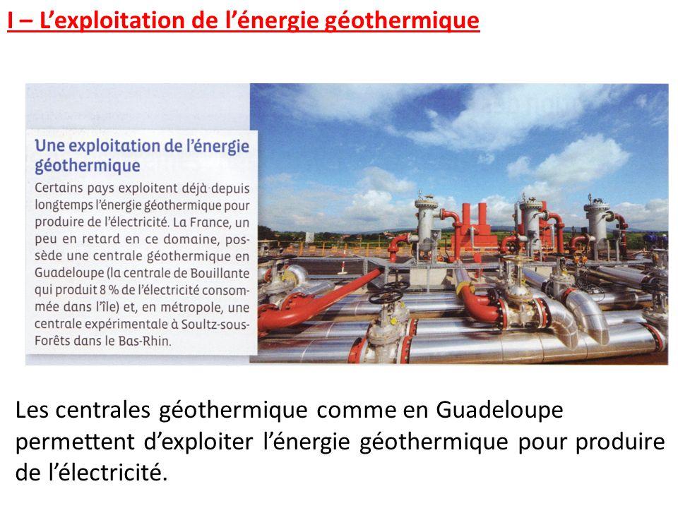 Les centrales géothermique comme en Guadeloupe permettent dexploiter lénergie géothermique pour produire de lélectricité. I – Lexploitation de lénergi