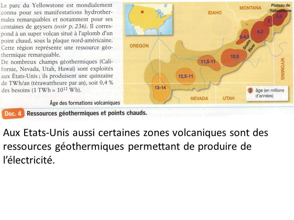 Aux Etats-Unis aussi certaines zones volcaniques sont des ressources géothermiques permettant de produire de lélectricité.