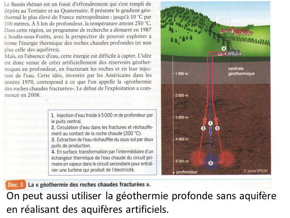 On peut aussi utiliser la géothermie profonde sans aquifère en réalisant des aquifères artificiels.