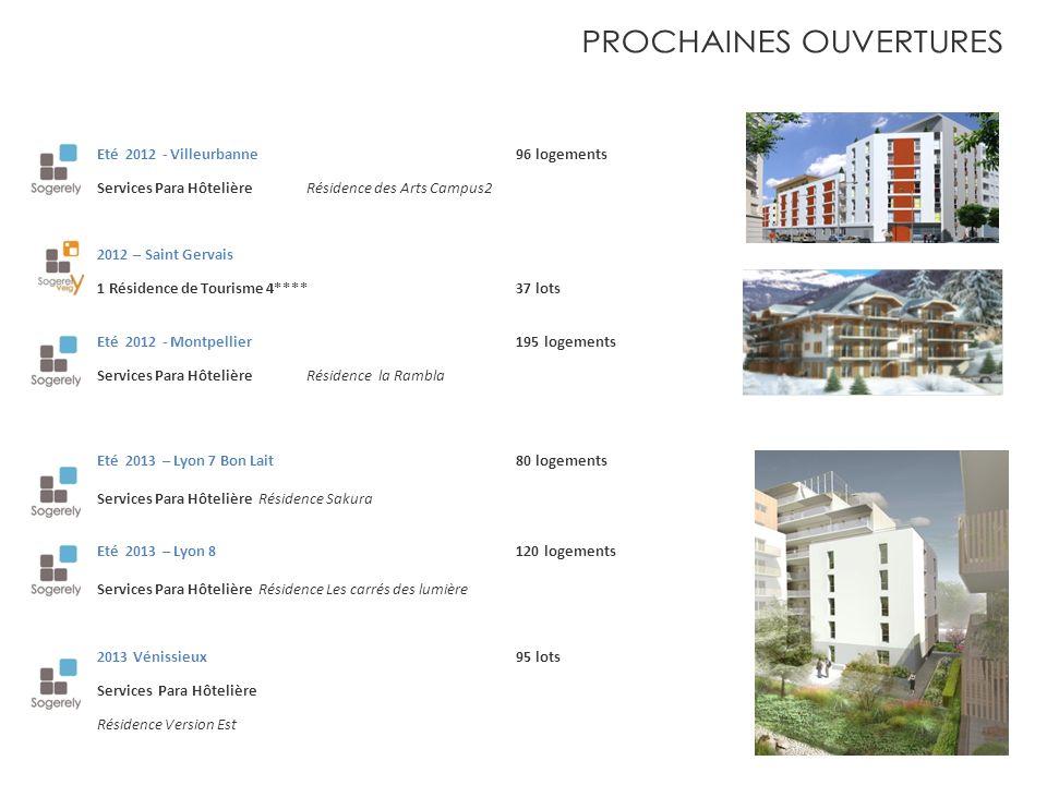Eté 2012 - Villeurbanne 96 logements Services Para HôtelièreRésidence des Arts Campus2 2012 – Saint Gervais 1 Résidence de Tourisme 4**** 37 lots Eté