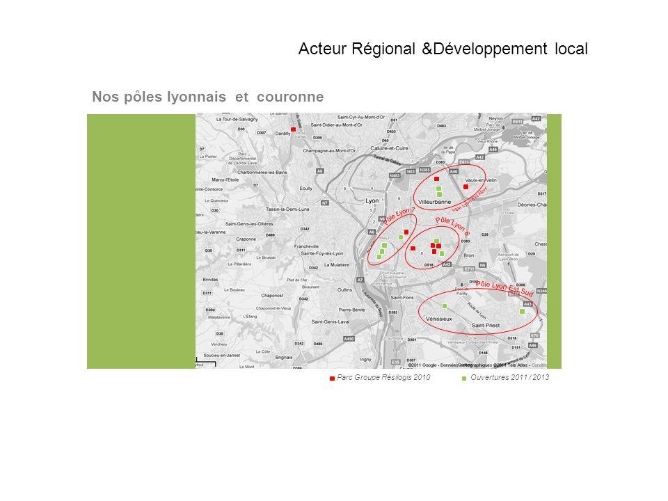 Nos pôles lyonnais et couronne Parc Groupe Résilogis 2010 Ouvertures 2011 / 2013 Acteur Régional &Développement local