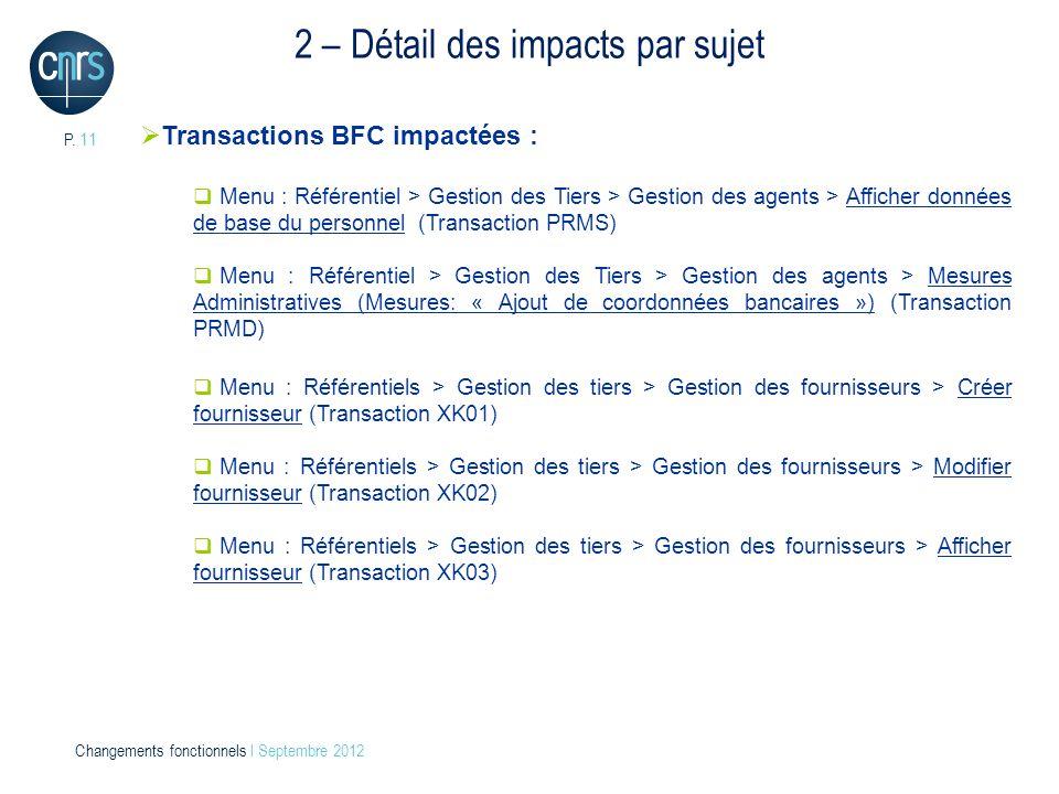 P. 11 Changements fonctionnels l Septembre 2012 2 – Détail des impacts par sujet Transactions BFC impactées : Menu : Référentiel > Gestion des Tiers >