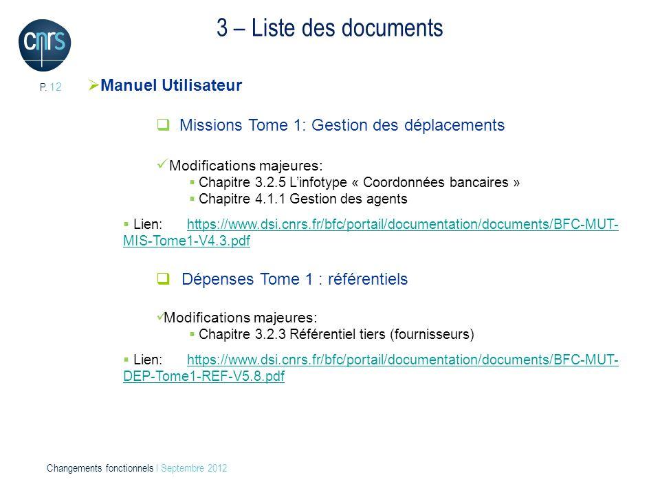 P. 12 Changements fonctionnels l Septembre 2012 3 – Liste des documents Manuel Utilisateur Missions Tome 1: Gestion des déplacements Modifications maj