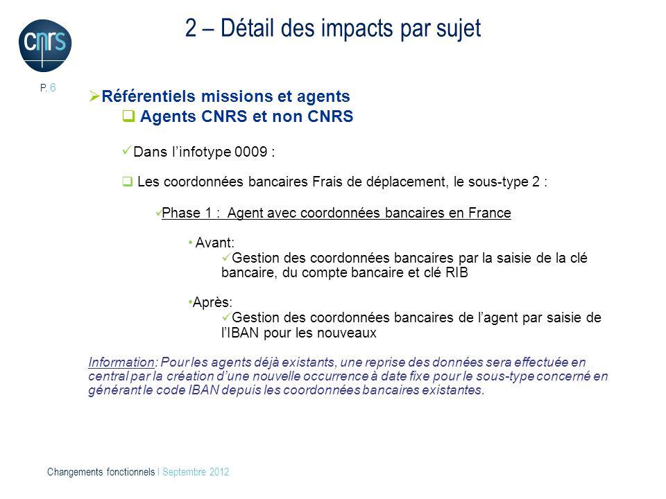 P. 6 Changements fonctionnels l Septembre 2012 2 – Détail des impacts par sujet Référentiels missions et agents Agents CNRS et non CNRS Dans linfotype