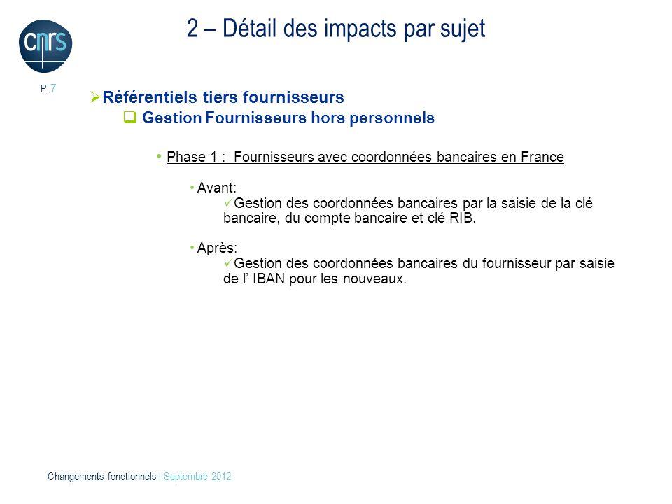 P. 7 Changements fonctionnels l Septembre 2012 2 – Détail des impacts par sujet Référentiels tiers fournisseurs Gestion Fournisseurs hors personnels P