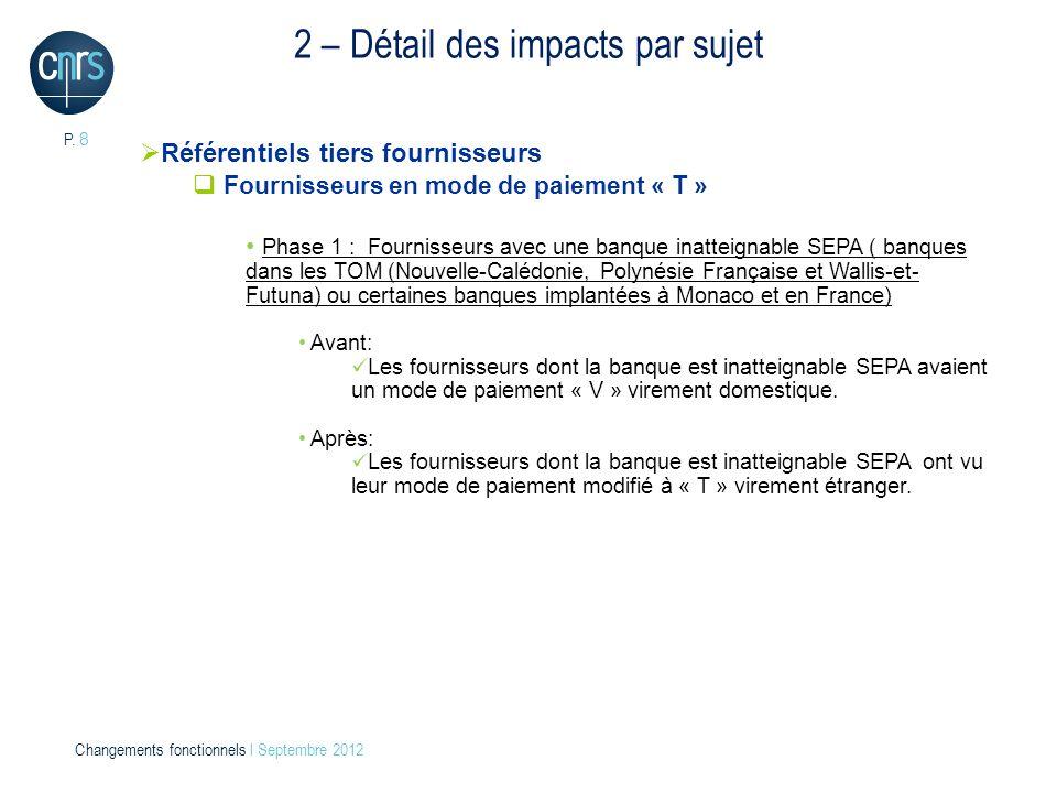 P. 8 Changements fonctionnels l Septembre 2012 2 – Détail des impacts par sujet Référentiels tiers fournisseurs Fournisseurs en mode de paiement « T »
