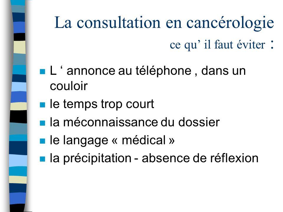 La consultation en cancérologie ce qu il faut éviter : n L annonce au téléphone, dans un couloir n le temps trop court n la méconnaissance du dossier