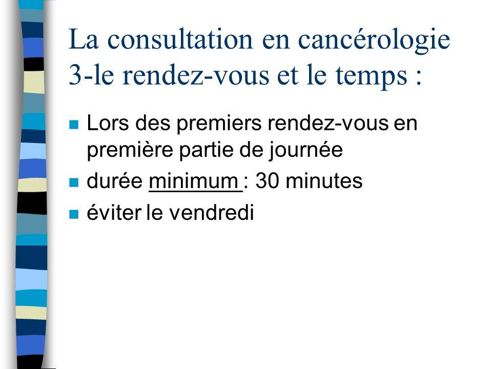 La consultation en cancérologie 3-le rendez-vous et le temps : n Lors des premiers rendez-vous en première partie de journée n durée minimum : 30 minu