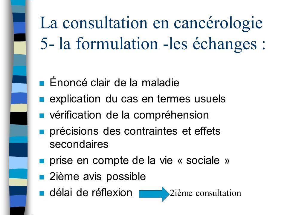 La consultation en cancérologie 5- la formulation -les échanges : n Énoncé clair de la maladie n explication du cas en termes usuels n vérification de