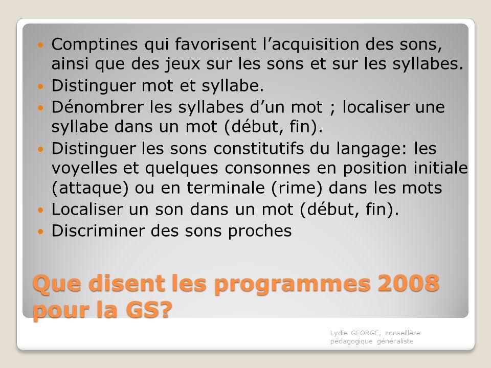 Que disent les programmes 2008 pour la GS? Comptines qui favorisent lacquisition des sons, ainsi que des jeux sur les sons et sur les syllabes. Distin