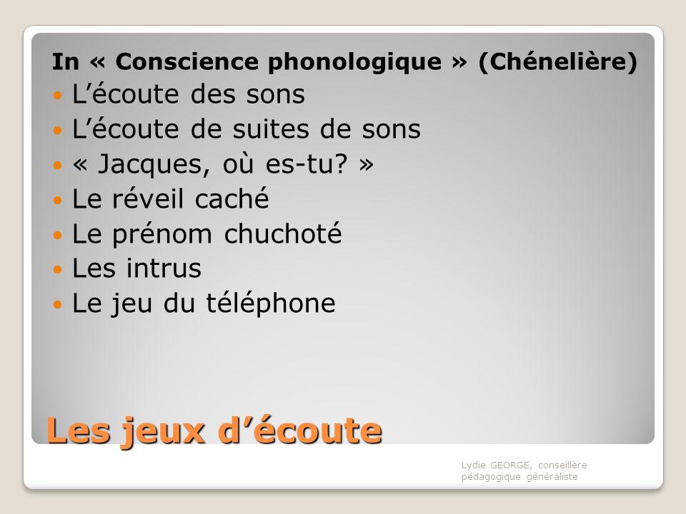 Les jeux découte In « Conscience phonologique » (Chénelière) Lécoute des sons Lécoute de suites de sons « Jacques, où es-tu? » Le réveil caché Le prén