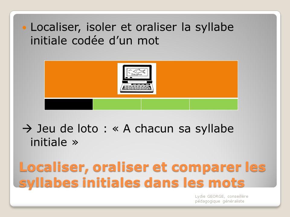 Localiser, oraliser et comparer les syllabes initiales dans les mots Localiser, isoler et oraliser la syllabe initiale codée dun mot Jeu de loto : « A