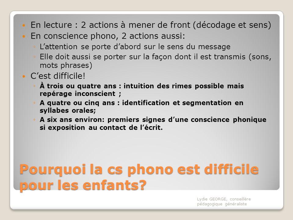 Pourquoi la cs phono est difficile pour les enfants? En lecture : 2 actions à mener de front (décodage et sens) En conscience phono, 2 actions aussi: