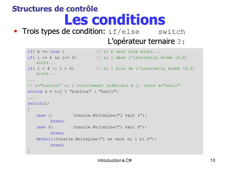 Introduction à C#10 Les conditions Trois types de condition: Trois types de condition: if/else switch Lopérateur ternaire Lopérateur ternaire ?: Struc