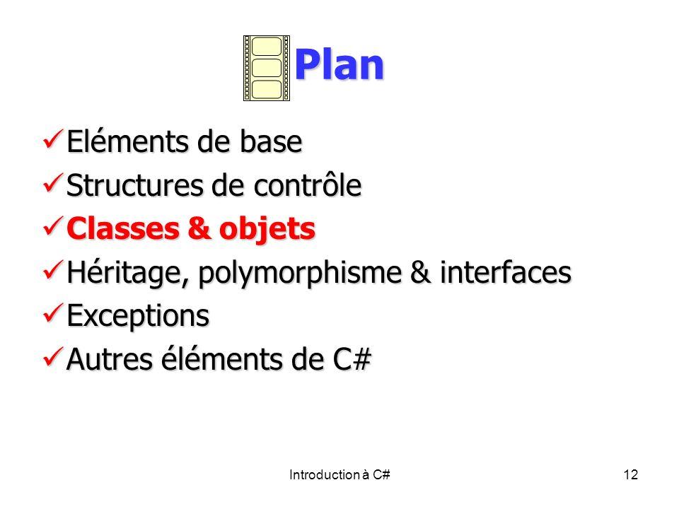 Introduction à C#12 Plan Eléments de base Eléments de base Structures de contrôle Structures de contrôle Classes & objets Classes & objets Héritage, p