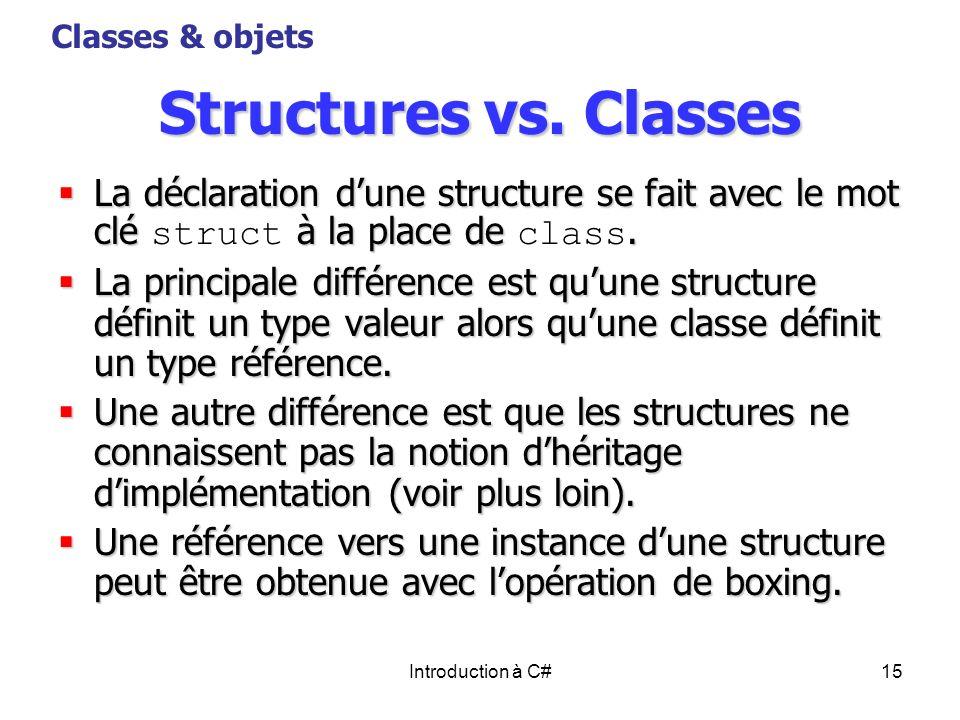 Introduction à C#15 Structures vs. Classes La déclaration dune structure se fait avec le mot clé à la place de. La déclaration dune structure se fait