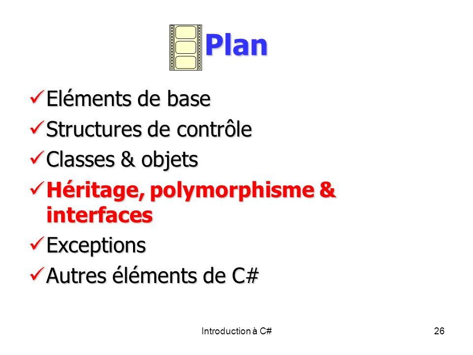 Introduction à C#26 Plan Eléments de base Eléments de base Structures de contrôle Structures de contrôle Classes & objets Classes & objets Héritage, p