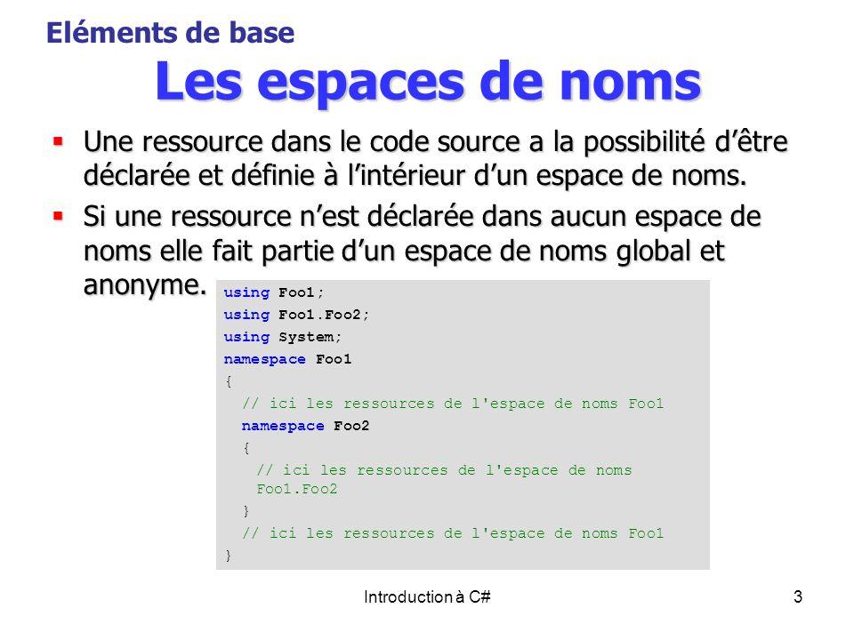 Introduction à C#3 Les espaces de noms Une ressource dans le code source a la possibilité dêtre déclarée et définie à lintérieur dun espace de noms. U