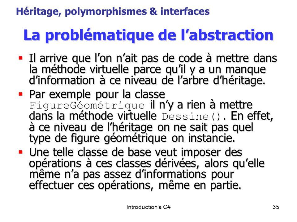 Introduction à C#35 La problématique de labstraction Il arrive que lon nait pas de code à mettre dans la méthode virtuelle parce quil y a un manque di