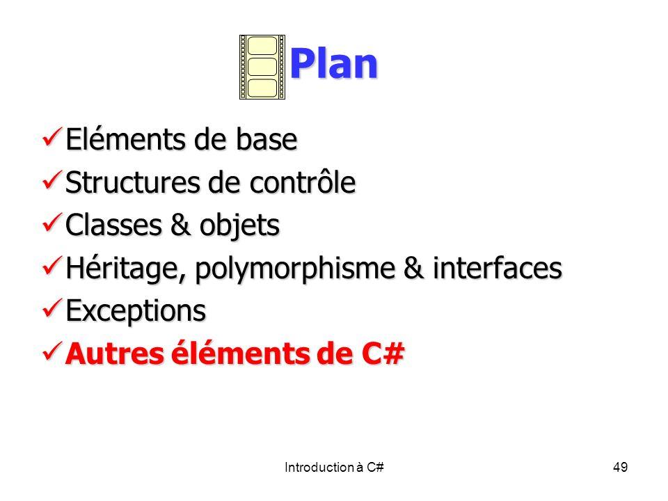 Introduction à C#49 Plan Eléments de base Eléments de base Structures de contrôle Structures de contrôle Classes & objets Classes & objets Héritage, p