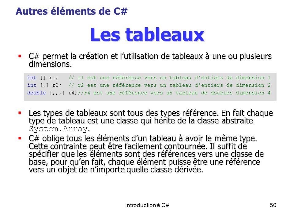 Introduction à C#50 Les tableaux C# permet la création et lutilisation de tableaux à une ou plusieurs dimensions. C# permet la création et lutilisatio