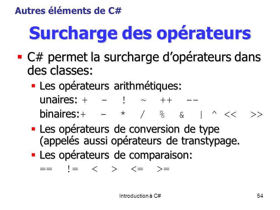 Introduction à C#54 Surcharge des opérateurs C# permet la surcharge dopérateurs dans des classes: C# permet la surcharge dopérateurs dans des classes: