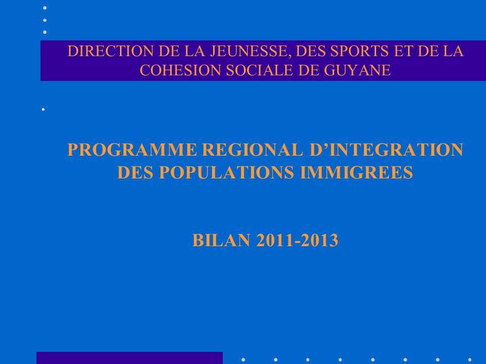 DIRECTION DE LA JEUNESSE, DES SPORTS ET DE LA COHESION SOCIALE DE GUYANE PROGRAMME REGIONAL DINTEGRATION DES POPULATIONS IMMIGREES BILAN 2011-2013