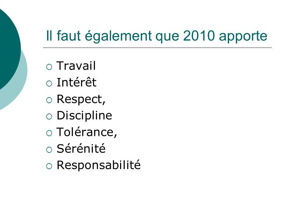 Il faut également que 2010 apporte Travail Intérêt Respect, Discipline Tolérance, Sérénité Responsabilité
