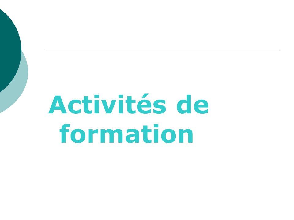 Activités de formation