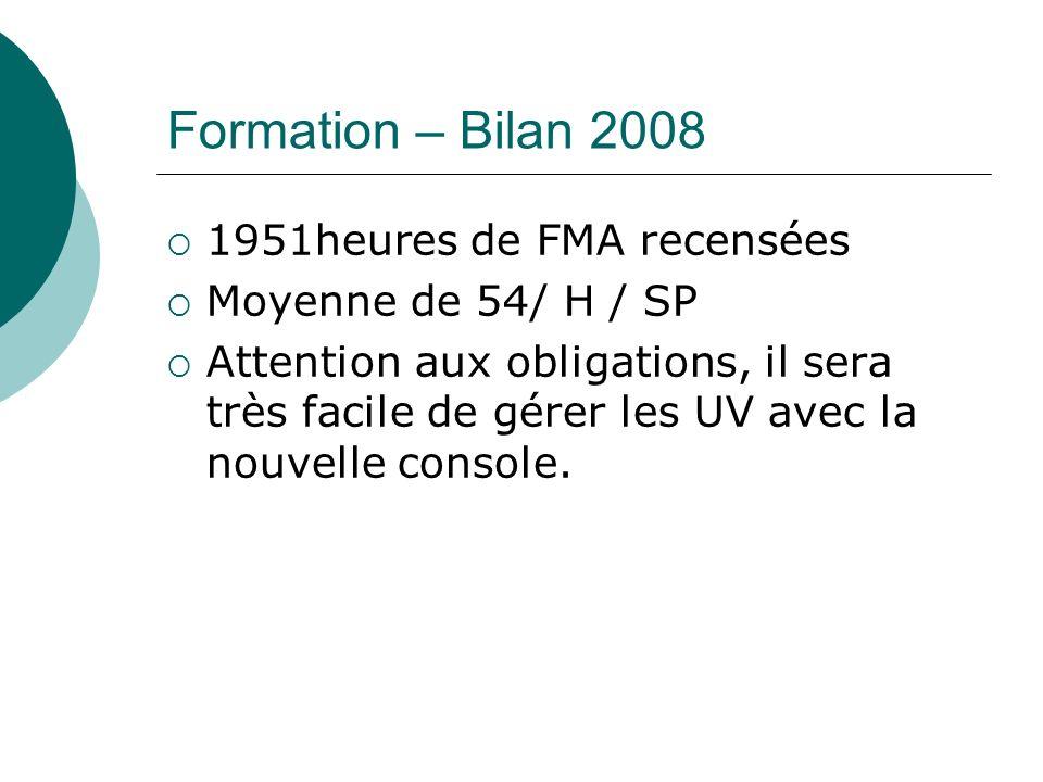 Formation – Bilan 2008 1951heures de FMA recensées Moyenne de 54/ H / SP Attention aux obligations, il sera très facile de gérer les UV avec la nouvelle console.