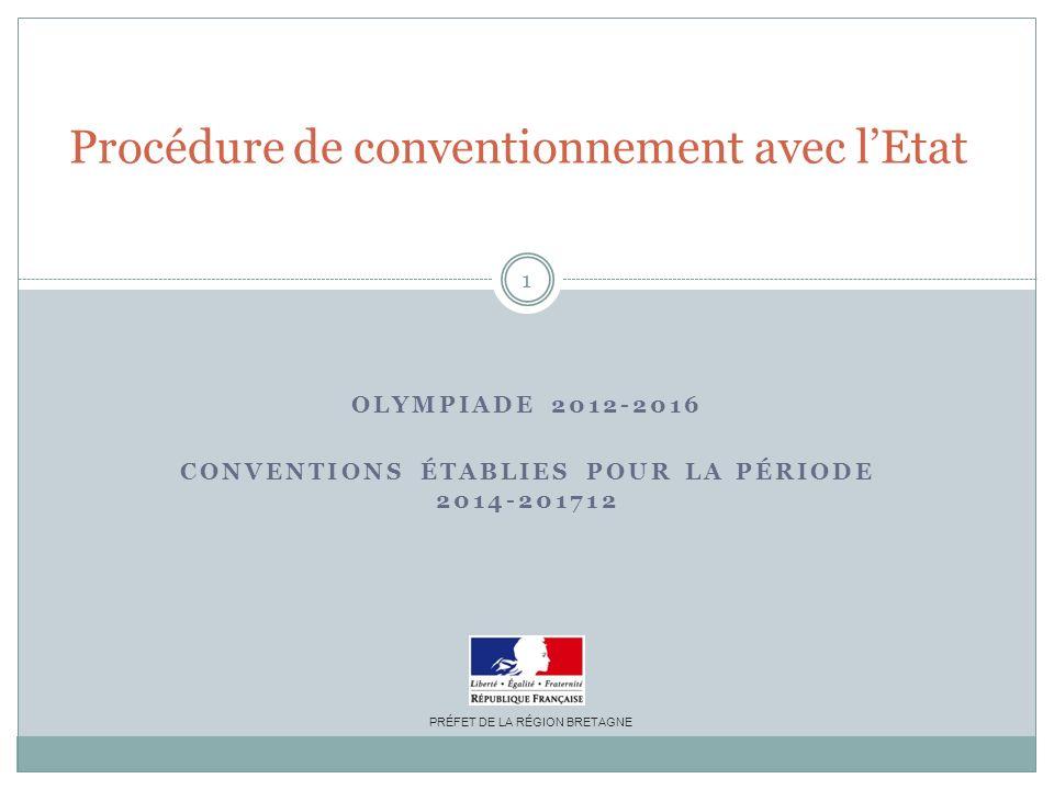 OLYMPIADE 2012-2016 CONVENTIONS ÉTABLIES POUR LA PÉRIODE 2014-201712 Procédure de conventionnement avec lEtat PRÉFET DE LA RÉGION BRETAGNE 1