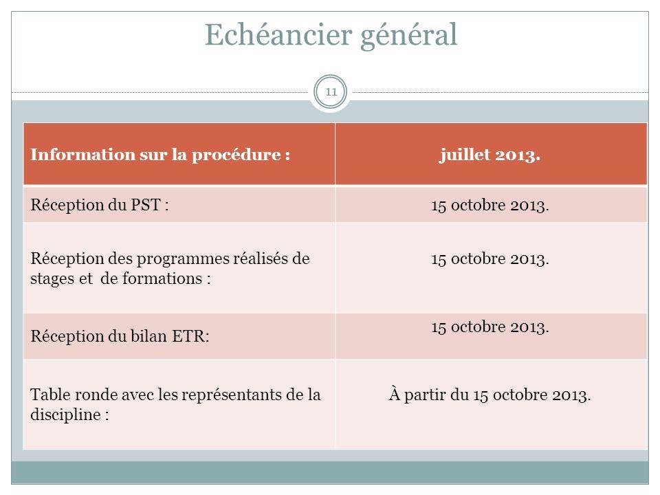 Echéancier général Information sur la procédure :juillet 2013.