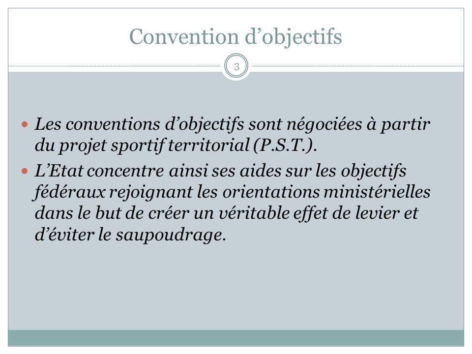 Convention dobjectifs Les conventions dobjectifs sont négociées à partir du projet sportif territorial (P.S.T.).