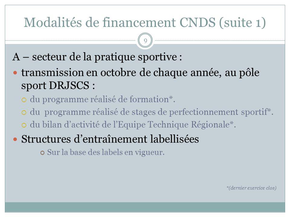 Modalités de financement CNDS (suite 1) A – secteur de la pratique sportive : transmission en octobre de chaque année, au pôle sport DRJSCS : du programme réalisé de formation*.