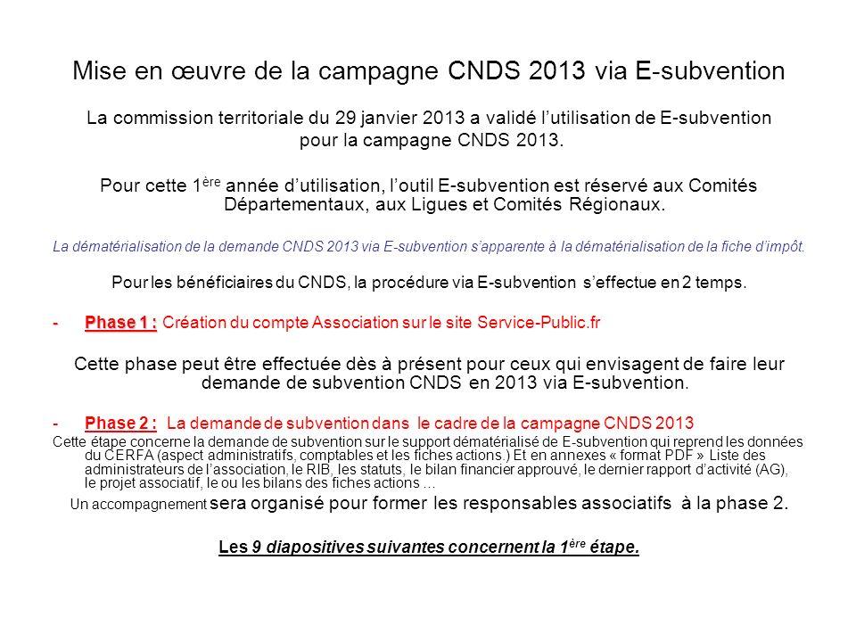 Mise en œuvre de la campagne CNDS 2013 via E-subvention La commission territoriale du 29 janvier 2013 a validé lutilisation de E-subvention pour la ca