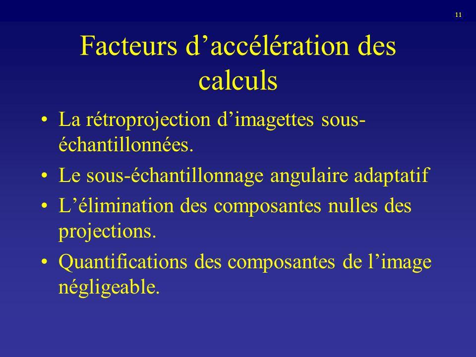 Facteurs daccélération des calculs La rétroprojection dimagettes sous- échantillonnées. Le sous-échantillonnage angulaire adaptatif Lélimination des c