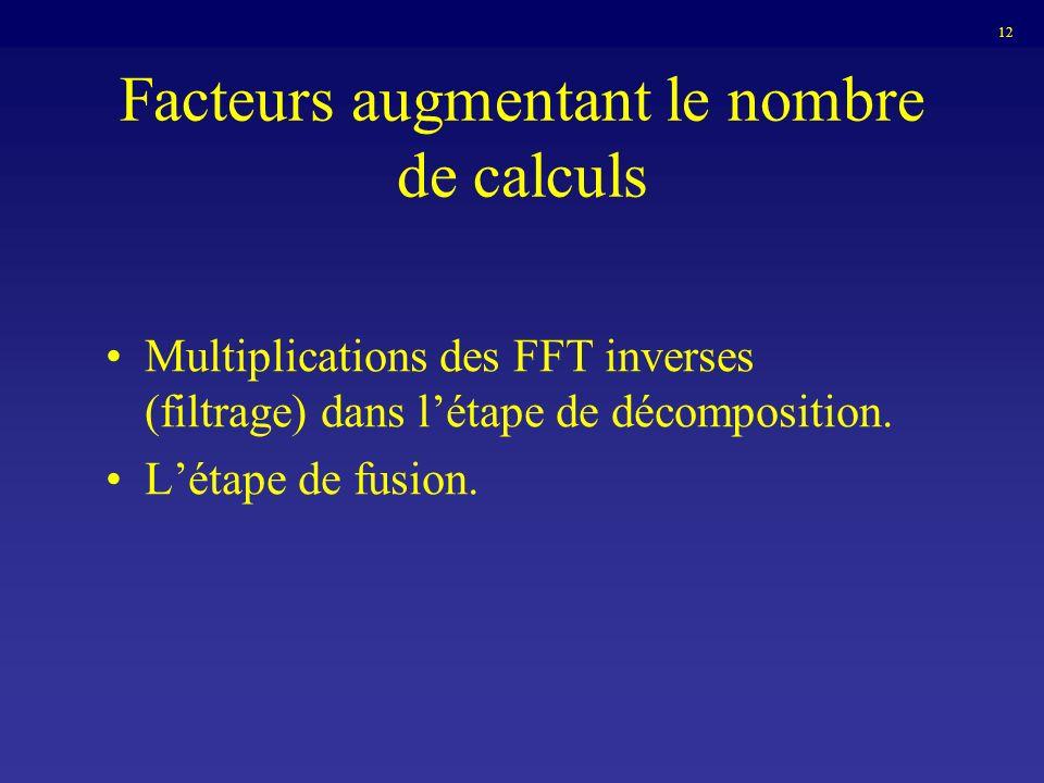 Facteurs augmentant le nombre de calculs Multiplications des FFT inverses (filtrage) dans létape de décomposition. Létape de fusion. 12